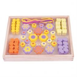 Bigjigs Toys Drevené hračky - Navliekacie korálky Kvetinky