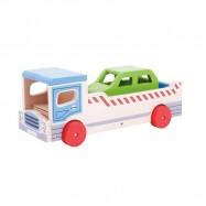 Bigjigs Toys drevené odťahovej auto s osobným autom