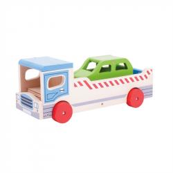 Bigjigs Toys Drewniana laweta z autem