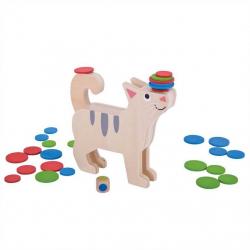 Bigjigs Toys drevená motorická hra - Koľko mačka unesie?