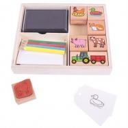 Bigjigs Toys Dřevěné razítka s pastelkami Farma