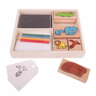 Bigjigs Toys razítka a pastelky - Safari