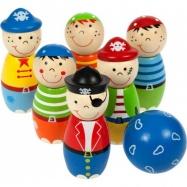 Zabawka drewniana Mini Kręgle Piraci, Bigjigs