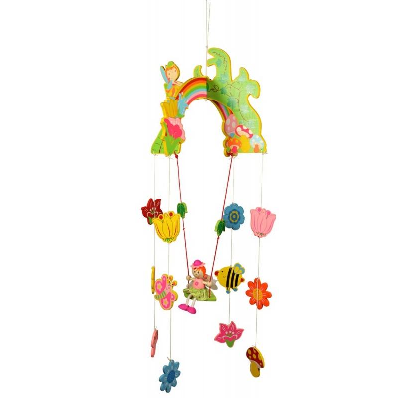 Dřevěné hračky - Závěsný kolotoč - Víla s květy