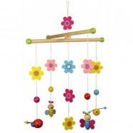 Dřevěné hračky - Závěsný kolotoč - Květinky a motýlci