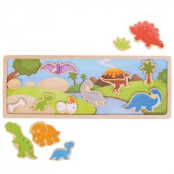 Bigjigs Toys magnetické puzzle dinosaury