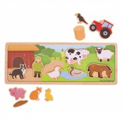 Bigjigs Toys magnetické puzzle farma