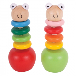 Bigjigs Toys Drewniana gąsiennica na jabłuszku