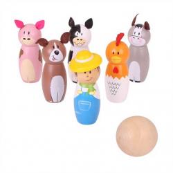 Bigjigs Toys dřevěné hry - Kuželky farma