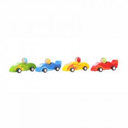 Bigjigs Toys - Kolorowy drewniany samochód wyścigowy