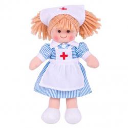 Bigjigs Toys látková bábika zdravotná sestrička Nancy 25 cm