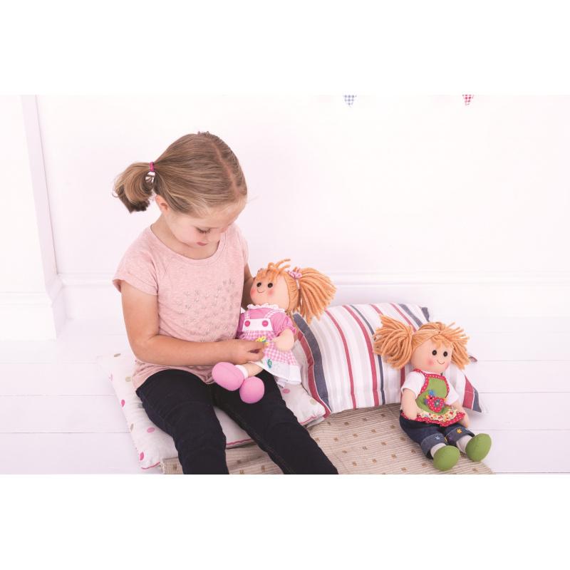 Bigjigs Toys Modré pruhované šaty pre bábiku 38 cm