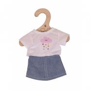 Zabawki Bigjigs biały T-Shirt & dżinsowa spódnica strój Ragdoll miękkie (28cm)