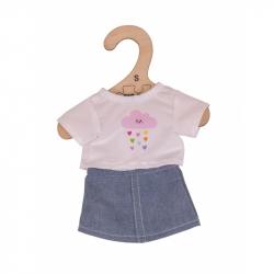 Bigjigs Toys Biele tričko s riflovú sukní pre bábiku veľkosti 28cm