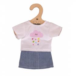 Bigjigs Toys biele tričko s riflovú sukní pre bábiku 34 cm