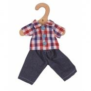 Koszula w kratę i dżinsy dla lalki szmacianej. 28 cm.