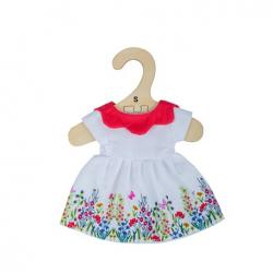 Bigjigs Toys Biele kvetinové šaty s červeným golierom pre bábiku 28 cm