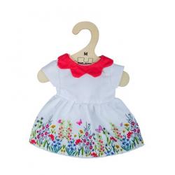 Bigjigs Toys Biele kvetinové šaty s červeným golierom pre bábiku 34 cm