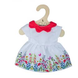 Bigjigs Toys Biele kvetinové šaty s červeným golierom pre bábiku 38 cm