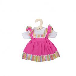 Bigjigs Toys Ružové šaty s pruhovaným lemovaním pre bábiku 28 cm