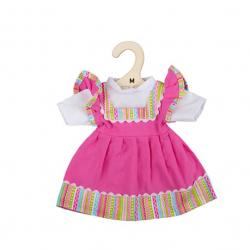 Bigjigs Toys Ružové šaty s pruhovaným lemovaním pre bábiku 34 cm