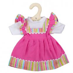 Bigjigs Toys Ružové šaty s pruhovaným lemovaním pre bábiku 38 cm
