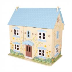 Bigjigs Toys drevený modrý domček pre bábiky