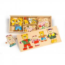 Bigjigs Toys oblékací puzzle v krabičke - Medvedie rodinka