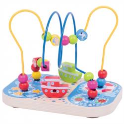 Bigjigs Toys drevený motorický labyrint mora