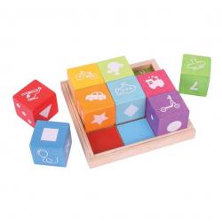 Dřevěná hračka - Dřevěné kostky s obrázky