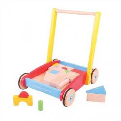 Bigjigs Toys chodítko - Kocky vo vozíku
