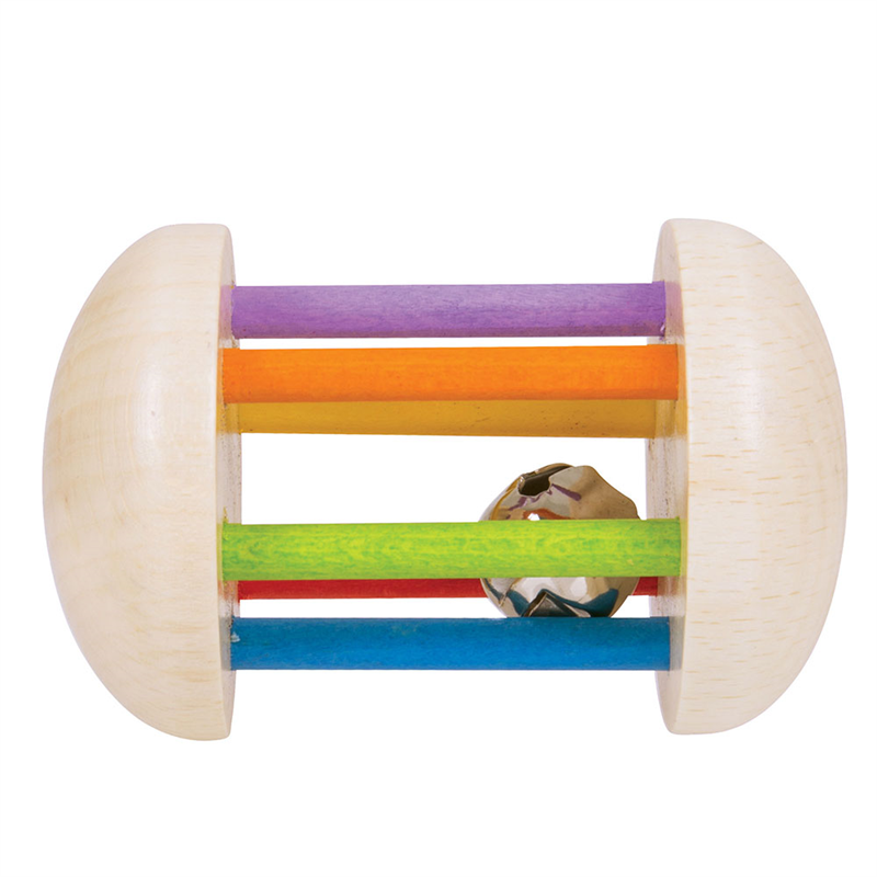Bigjigs Toys - Hrkálka - Rolnička v dúhové klietke