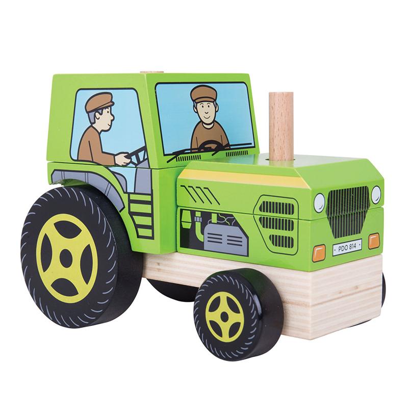 Bigjigs Toys drevené hračky - Nasadzovanie traktor
