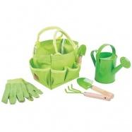 Bigjigs Toys - Záhradný set náradia v plátené taške zelený