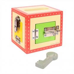 Bigjigs Toys drevená skrinka so zámkami