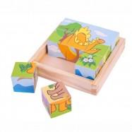 Bigjigs Toys obrázkové kostky kubusy - Dinosauři - 9 kostek