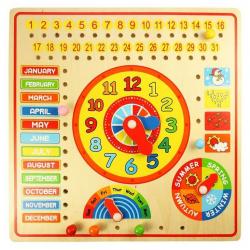Bigjigs drevené hračky - Kalendár s hodinami