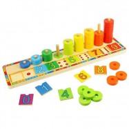 Dřevěná motorická a naučná hra - Deska nasazování s čísly