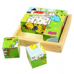 Bigjigs Toys obrázkové kocky kubusy - Zvieratká - 9 kociek