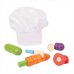 Bigjigs Toys drevená krájacie zelenina s čiapkou