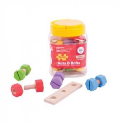 Bigjigs Toys náradie - Drevený spojovací materiál v dóze