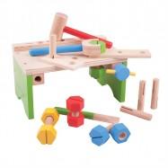 Bigjigs Toys - Ponk s náradím a zatĺkačka