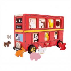 Bigjigs Toys drevený autobus so zvieratkami