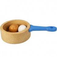 Bigjigs dřevěný hrnec s vajíčky