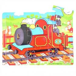 Bigjigs Toys drevené hračky - Puzzle Vlak - 9 dielikov