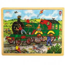 Bigjigs Toys drevené hračky - Puzzle Vlak - 24 dielikov