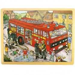 Bigjigs Toys drevené hračky - Puzzle Hasiči - 24 dielikov