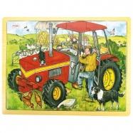 Bigjigs Toys dřevěné hračky - Puzzle Traktor - 24 dílků