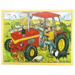 Bigjigs Toys drevené hračky - Puzzle Traktor - 24 dielikov