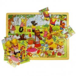 Bigjigs Toys drevené hračky - Puzzle medvedí piknik 24 dielikov